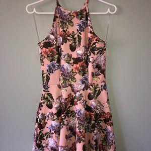 Floral Spaghetti Strap High-Neckline Dress